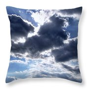 Sun Breaking Through The Clouds Throw Pillow by Mariola Bitner
