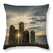 Sun Burst Silos Throw Pillow