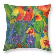 Sun Conure Parrots Throw Pillow