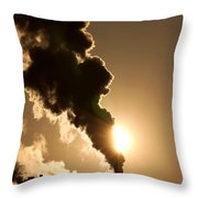 Sun Covered With Soot - Air Pollution Throw Pillow