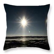 Sun Dogs Besides Settig Sun Throw Pillow