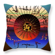 Sun Face Stylized Throw Pillow by Robert  G Kernodle