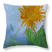Sun Flower And Dragonflies  At Dusk Throw Pillow