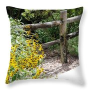 Sun Flower Fence Throw Pillow