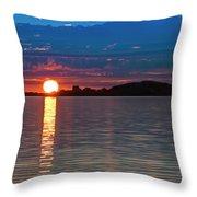 Sun Is Setting Over Port Hood Island Throw Pillow