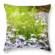 Sun-kissed Meadows With White Star Flowers Throw Pillow