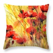 Sun Kissed Poppies Throw Pillow