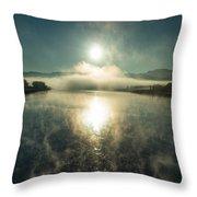 Sun O'er Missouri River Throw Pillow