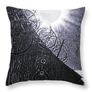 Sun Over Barbed Wire Throw Pillow