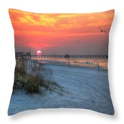 Sun Over Sea N Suds And Pier Large Throw Pillow