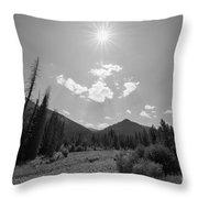 Sun Rays In Yellowstone Bw Throw Pillow