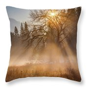 Sun Rays In Yosemite Ground Fog Throw Pillow