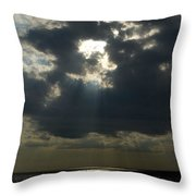 Sun Rays Pierce Through Clouds And Rest Throw Pillow