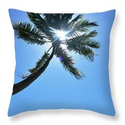 Sun Rays Through A Tall Palm Tree Throw Pillow