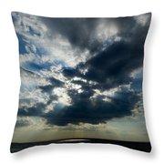 Sun Rays Through Clouds Form A Spot Throw Pillow