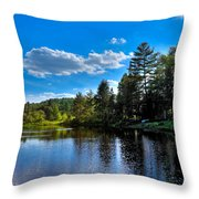 Sun Reflecting On The Moose River Throw Pillow