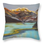 Sun Ricing On Rockies Throw Pillow