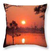 Sun Rise At Red Lake Grayton Beach State Park Florida Throw Pillow