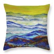 Sun Rise Blue Mountain Throw Pillow