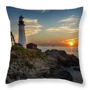 Sun Rising At Portland Head Light Throw Pillow