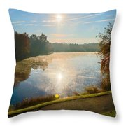 Sun Rising Over Lake Inspiration Throw Pillow