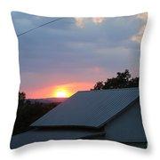 Sun Set On Barn  Throw Pillow
