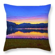 Sun Set On Lake Lure Throw Pillow