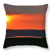 Sun Set Over Dam Throw Pillow