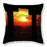 Sun Setting At The Pier Throw Pillow