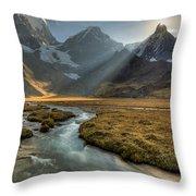 Sun Setting  Behind Jirishanca Peak Throw Pillow