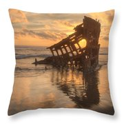 Sun Setting Behind Peter Iredale 0089 Throw Pillow