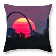 Sun Setting Behind The Arch Throw Pillow