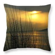 Sun Setting From Eastern Point Throw Pillow