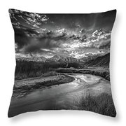 Sun Setting On The Owens River Throw Pillow