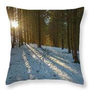 Sun Setting On Winter Woods Throw Pillow