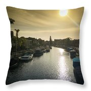 Sun Setting Over Canals Of Naples In Long Beach, Ca Throw Pillow