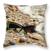 Sun Shades And Sea Shells Throw Pillow