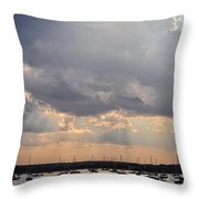 Sun Shines On The Harbor  Throw Pillow
