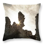 Sun Shining Through A Derelict Building At Occi In Corsica Throw Pillow