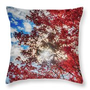 Sun Sky Clouds And A Red Maple Throw Pillow