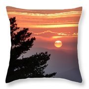 Sun Through The Clouds And Trees Sunset At The Mountains Throw Pillow