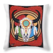 Sun Wheel Skull Throw Pillow by Billie Bowles