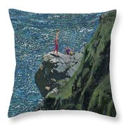 Sunbathers Cornwall Throw Pillow