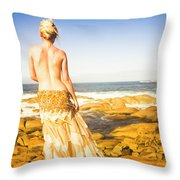 Sunbathing By The Sea Throw Pillow