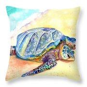 Sunbathing Turtle Throw Pillow