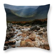 Sunbeams, Glencoe, Scotland Throw Pillow