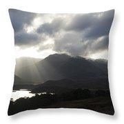 Sunbeams In Glen Affric Throw Pillow