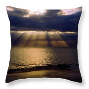 Sunbeams Radiating Through Clouds Before Sunset Throw Pillow