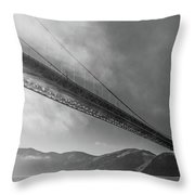 Sunbeams Through The Golden Gate Black And White Throw Pillow