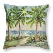 Sunburst Beach Morning Throw Pillow